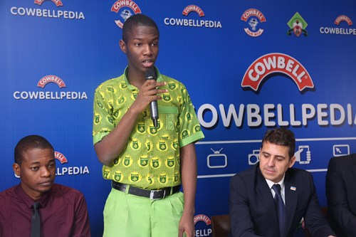 2018 Cowbellpedia Winner (Senior Category) Chinedu Mgbemena, giving his remarks.